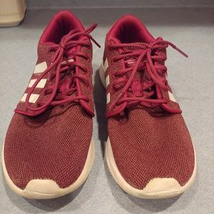 Burgundy adidas cloudfoam sneakers